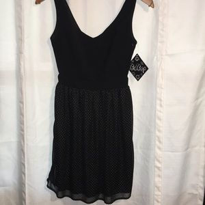 Be Bop mini dress black with silver dots size XSM